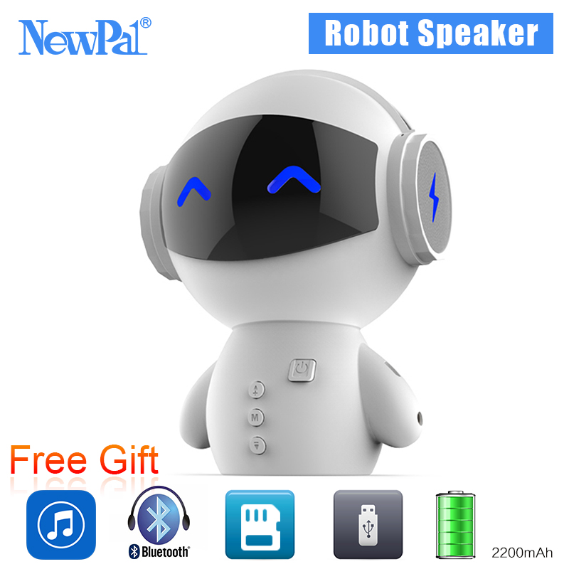 NewPal Robot Bluetooth Speaker Mini Portable Speakers Wireless MP3 Audio Player Power Bank TF Card For All Phones With Mic(China (Mainland))