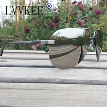 Lvvkee Brand logo top quality sunglasses men and women Spring Hinge Polaroid Lens color aviator sunglasses green blue red pink(China)
