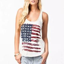 Women American Flag Printed Tank Knitted Tops White Vintage Harajuku Ulzzang Bts Blusas Female Sporting Baseball Vest Camis