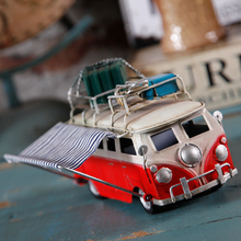 Antique Finished Artifiacial Iron Cast Bus Model Travel Car with Luggage Toy Gift Desktop Home Decoration Metal Dining Car Model(China)