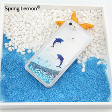 For iphone 6 Case Dolphin Penguin Polar Bear Ocean Blue Liquid Quicksand Glitter Case For iphone 7 7Plus 6Plus 5S 6S 8 8PLUS X(China)