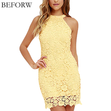 Buy BEFORW Summer New Sexy Yellow Lace Dress Hollow Strapless Nightclub Women Dress Party Dresses High Waist Maxi XXL for $13.98 in AliExpress store