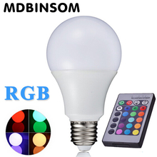 Buy E27 RGB LED Bulbs Lamp 3W 5W 10W AC110V 220V Spot Light Dimmable Magic Holiday Lighting IR Remote Control 16 Colors 270 Degree for $1.09 in AliExpress store