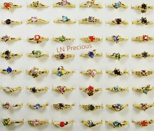 50Pcs Wholesale Lots Jewelry Ring Women Ring Rhinestone Fashion Gold Rings LB119