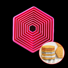 9 Pc Per Set Child DIY Flat Edge Hexagon Shaped PP Plastic Fondant Biscuit Dough Cutter Tiramisu Mold Cookies Mould Pastry Tool(China)