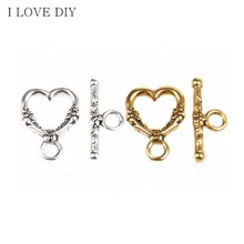 20 Sets Tibetan Silver Heart Shaped Circle Hook Clasps Making Jewelry Findings for DIY Jewelry Making Bracelets