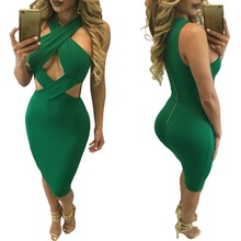 Women Green Halter Cross Bandage Dress Fashion Sexy Cut Out Sleeveless Back Zipper Knee Length Midi Club Dresses Femme Robe