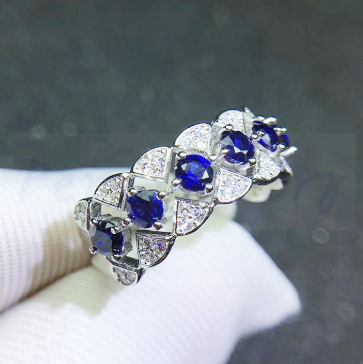 Sapphire ring 0.15ct*6pcs gems Free shipping Per Jewelry Natural real blue sapphire 925 sterling silver Fine jewelry #J19011817