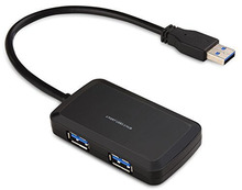 High Speed 4 Port Compact Portable High Speed USB 3.0 Data Hub for Windows, Mac OS, Linux With Built-in 10 Inch USB 3.0 Cable
