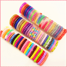 Good quality telephone wire hair band candy color rubber hair holders elastic for the hair ropes Girl Women headwear  #JH047