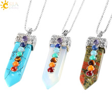Buy CSJA Natural Round Gem Stone Beads 7 Chakra Necklace Pendants Sword Pendulum Charms Healing Reiki Woman Men Yoga Jewellery E332 for $2.80 in AliExpress store