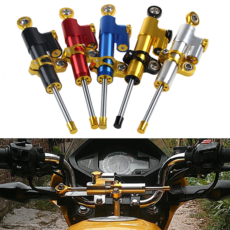 Motorcycle UNIVERSAL Steering Damper 24 clicks tuning possible SPRINT STABILIZER ADJUSTABLE LINEAR REVERSE 6 COLOR For Harley<br>