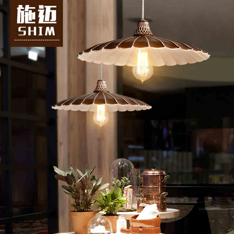 Nordic Industrial Wind retro umbrella pendant lights Cafe cafe bar little skirt black lighting<br>