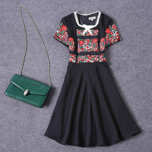 Vintage Dress 2016 Summer Gothic Short Flare Sleeve Star Embroidery Black Above Knee Women ZIpper Topshop New Arrival Dress