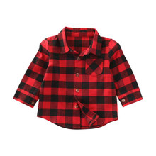 Baby Girl Cotton Plaid Shirt Kids Red Plaid Blouse Baby Girl Autumn Tops Toddler Casual Blouse