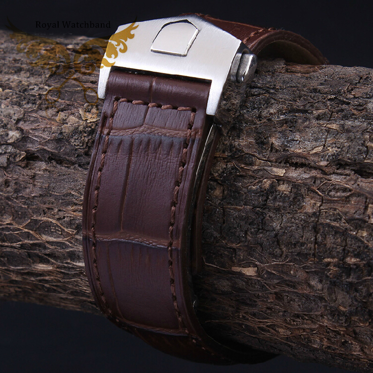 20mm 22mm New High Quality Silver Stainless Steel Butterfly Buckle Crocodile Pattern Genuine Leather Watch bands Strap For BRAND<br>
