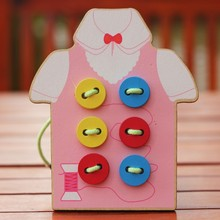 Free delivery hand-eye coordination fine motor fancy handmade toys, sewing buttons game, kids wooden toys