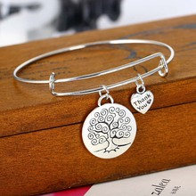 Fashion Life Tree Heart Bracelet Love Forever Family Gifts Women Wedding Jewelry Party Friend Bracelets Souvenirs Charm Dangle(China)