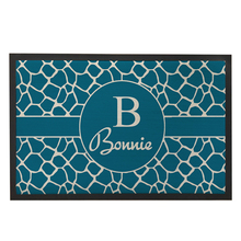Teal Blue Zebra Design Entrance Door Mats Custom Name Outdoor Anti-Slip Rubber Carpets for Bathroom and Kitchen Home Decor 60x40