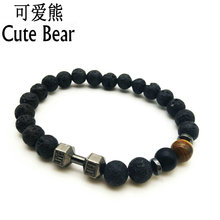 New Arrival Men Barbell Jewelry Retail 8mm Lava Rock Stone Beads Energy Fitness Yoga Jewelry Fitness Prayer Dumbbell Bracelets(China)