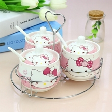 Cartoon Ceramic Hello Kitty Doraemon Sugar Bowl Home Kitchen 3 In 1 Set Salt Condiment Pot Jars With 3 Spoons(China)