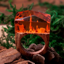 DoreenBeads 2017 Men Jewelry Resin Secret Wood Rings For Women Orange Magic Forest Rectangle Women's Ring Free Shipping