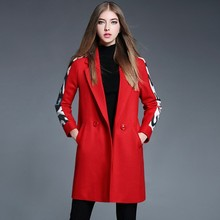 Fashion Casual Ladies Winter Coat Women Red Outerwear Clothes Wool Long Free Shipping