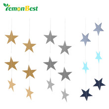 LemonBest Wall Hanging Paper Star Garlands 4m Long Birthday String Chain Wedding Party Banner Handmade Children Room Home Decor(China)
