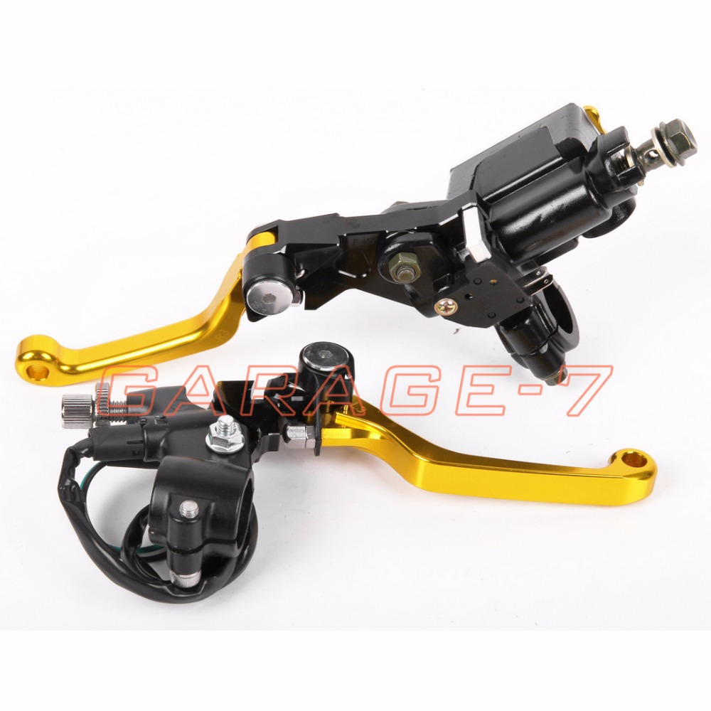 New CNC 7/8 Brake Master Cylinder Pressure Switch Reservoir Levers Dirt Pit Bike Set Yellow  For KTM 125SX/EXC 2009-2013 2012<br><br>Aliexpress