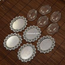 40x30mm Alloy Cabochon & Rhinestone Settings and Oval Clear Glass Covers Sets, Lead Free & Nickel Free, Antique Silver/ Golden