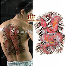 3pcs large big Red Dragon designs Temporary tattoo stickers Waterproof body paint tatoo 3d drawings cool men free shipping