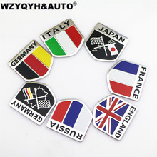 3D Aluminum car Flag sticker accessories For VW/mazda/ mitsubishi/audi/hyundai /opel /skoda/ford LADA Renault car styling(China)