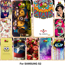 Painted Soft TPU GEL Mobile Phone Cases For Samsung Galaxy SII I9100 4.3 inch S2 GT-I9100 Cases Silicone TPU Phone Cover Shell