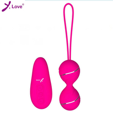 Buy Y.LOVE New silicone Kegel Balls Vaginal Tight exercise vibrating eggs remote control Geisha Ball ben Wa Balls Sex Products Women