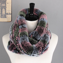 Free Shipping Real Rex Rabbit Fur Scarf Hand Knitted Fashion Women Shawl Genuine Rex Rabbit Fur Scarves For Female Factory price