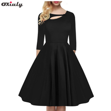 Women Elegant 3/4 sleeves Party Wear Pleated Autumn Vintage Black Tunic Work Office Party Hollow Out Fit and Flare A-Line Dress
