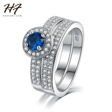 Sliver Color Blue Crystal Ring Set Fashion Wedding & Engagement Rings Jewelry For Women with CZ Crystal WholesaleR506