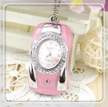 100% real Capacity Fancy Jewelry Necklace Pink Watch Car usb flash drive pen Drive Memory stick 4G 8G 16G 32G 64G S90(China)