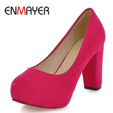 ENMAYER Fashion Wedding Pumps Sexy High Heel Shoes Brand Design Red Bottom Platform Pumps Hot Women Party Shoes Big Size