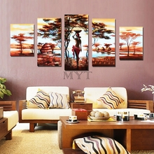Hand-painted oil painting abstract painting African red wine bar wall painter house decorative oil painting, oil painting MYT10(China)