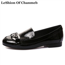 2018 patent leather loafers women flats chain deco black wine red slip ons woman creepers female dress shoes flats big size 43