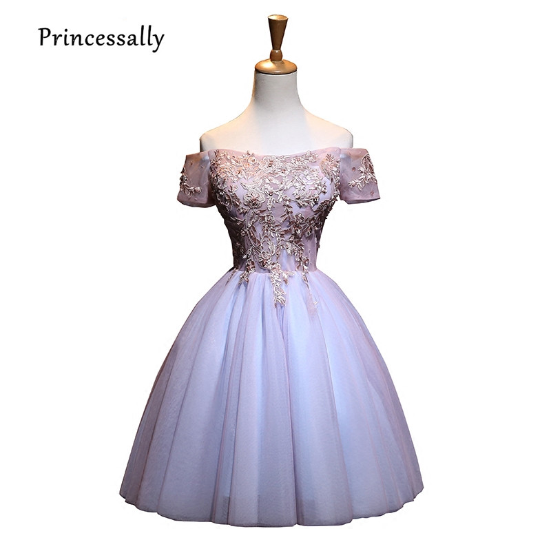 High-grade Elegant Cocktail Dress Short Short Sleeve Strapless Embroidery Beading Formal Graduation Homecoming Gowm Robe Vestido