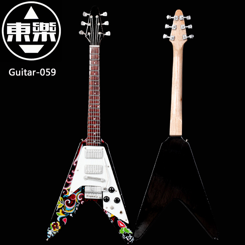 Wooden Handcrafted Miniature Guitar Model guitar-059 Guitar Display with Case and Stand (Not Actual Guitar! for Display Only!)<br>