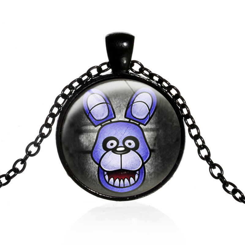 Nights at Freddys Necklace FNAF Foxy Chica Bonnie Freddy Glass Cabochon Chain Necklace Kids Jewelry Birthday Gifts 2 Necklace Necklace