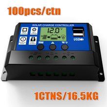100pcs X 10A 20A 30A 12V 24V intelligence Solar cells Panel Battery Charge Controller Regulators LCD Display with 5V USB