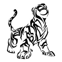 15.2*17.7CM Tribal Roaring Little Tiger Cool Car Styling Vinyl Racing Car Sticker And Decal Black/Silver S1-2586