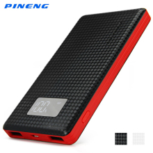 Genuine PINENG 960 6000mAh Portable Power Bank Li-Polymer Battery Dual USB Charger LCD Screen
