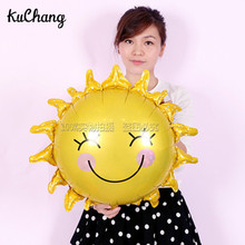 10pcs 60*60cm Sun Foil Balloons Birthday Party Summer Smile Flower Helium Inflatable Globos Decor Baby Shower Classie Toys ball(China)