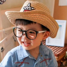 2017 Children Summer Straw Bucket Hat Casual Solid Breathable Cow Boy Flat Shade Cap For Children