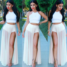 2017 Sexy Women Dresses white Nightclub party skirt top female overskirt Slim Pencil spring summer Crop Top girl Two Piece Set